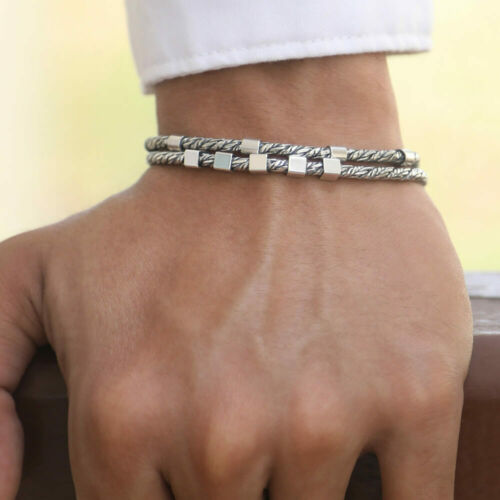 Italian 925 Sterling Silver Thin Men Bracelet Size 7 8 8.5 9 10 inch VY Jewelry