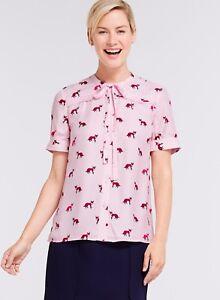 NWOT-175-Draper-James-Foxy-Tie-Blouse-Size-4-Blush-Pink