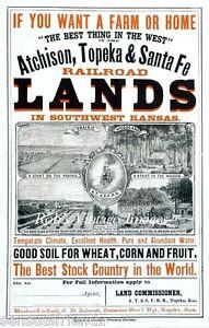 Santa-Fe-ATSF-Railroad-Southwest-Kansas-Land-Immigrant-Ad-Print-Poster1880-train