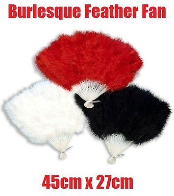 Deluxe Burlesque Dancer Showgirl 1920s Feather Hand Fan Fancy Dress Costume Prop