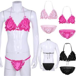 Men Shiny Satin Bikini Set Halter Bralette Bra Top G-string Crossdress Nightwear