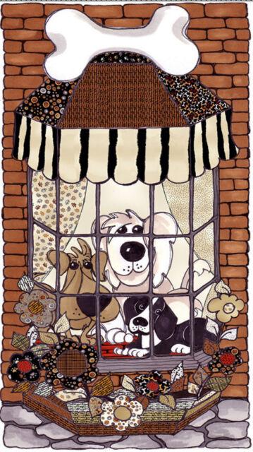 Loralie Harris Dog Delight Puppy Window Cotton Fabric TRIMMED 23