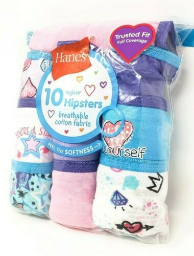 Hanes Youth Girls/'S Confezione Multipla 10 Pack Hipster Biancheria Intima tagless No Giro Up New in Package
