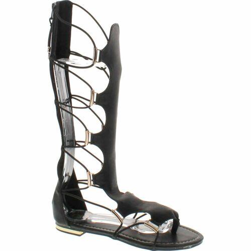 Anya-50 Yoki Fashion Knee-High Thong Gladiator Flat Sandals Comfortable