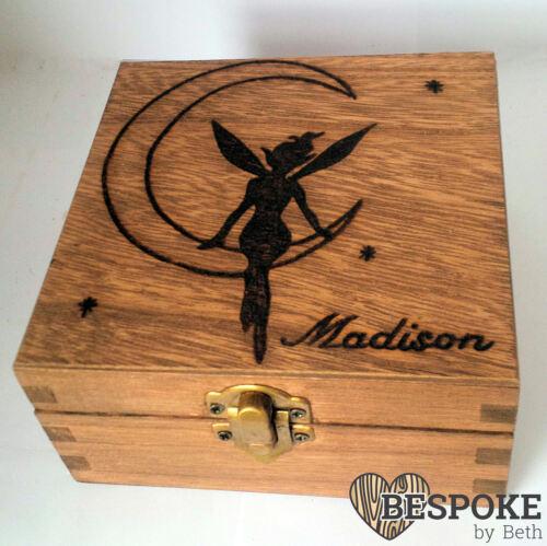 Wooden Engraved Personalised Wedding Baby Keepsake Memory Box Fairy Pixie Moon