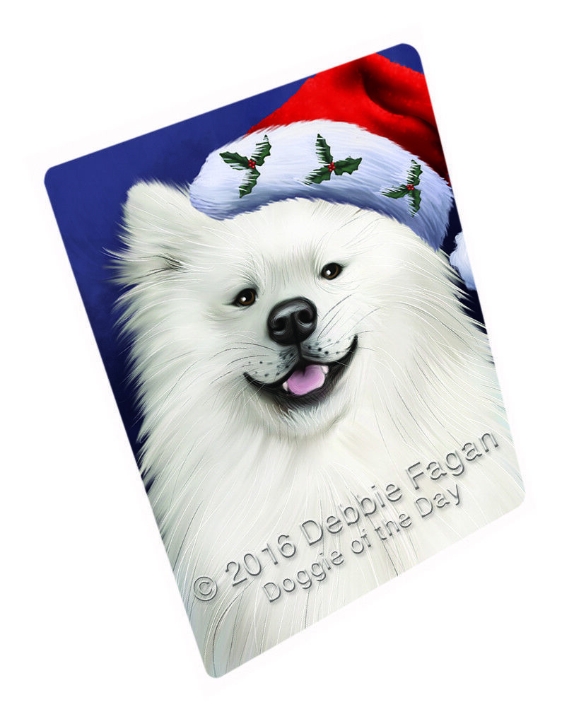 Christmas American Eskimo Hund Holiday Santa Hat Woven Throw Sherpa Blanket T02