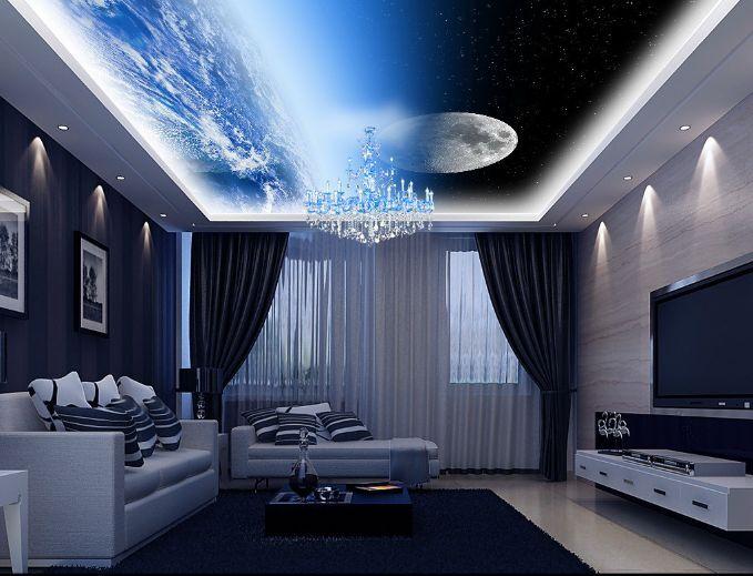 3D Earth bluee Light Ceiling 5 Wall Paper Wall Print Decal Wall Deco AJ WALLPAPER