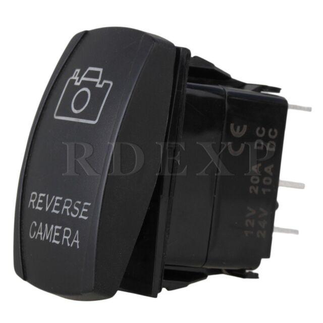 5 Pin Reverse Camera Blue DC12V-24V Rocker Switch Car Parts