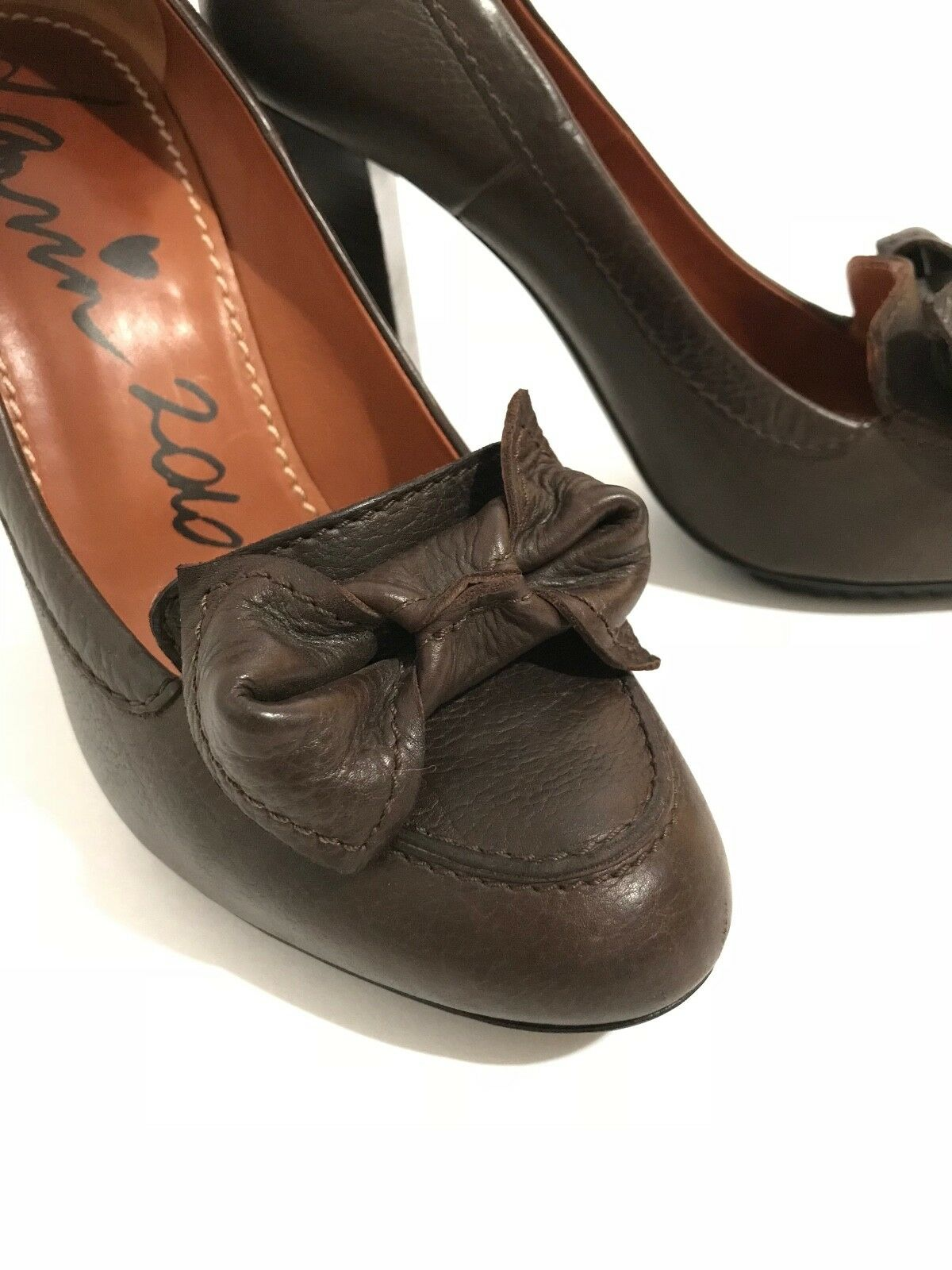 Lanvin 2010 Hiver Bow Stack Heel Brown Leather Pump Size 8