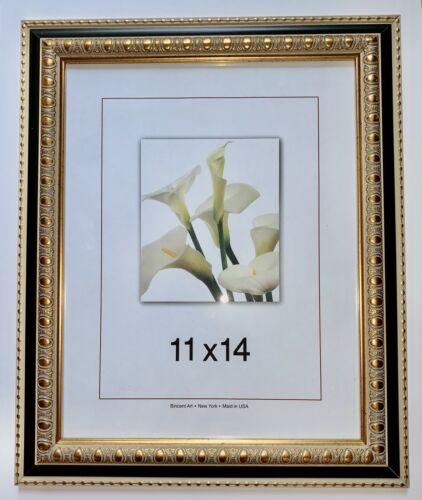 """Gold and Black  11 """"X 14 """"  Frame with Mat 8""""X10"""" Opening"""