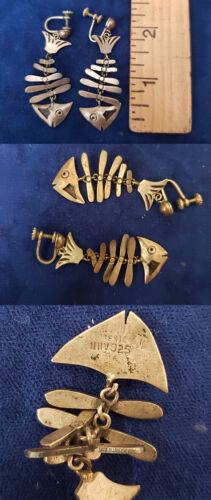 Vintage Sterling Silver Fish Skeleton Bone Signed