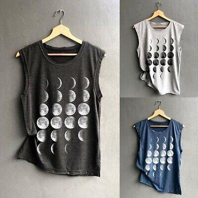 Women O Neck Sleeveless T Shirt Graphic Tanks Tops Moon Phases Printed T Shirt Loose Vest Tuncis Blouse Shirt