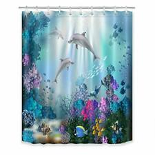 Cartoon Shower Curtain Cute Animal Ocean Wave Dolphin Cake Birthday Kids Home Bathroom Decor Quick Dry Fabric with 12 Hooks,70x70 Inch,Blue White