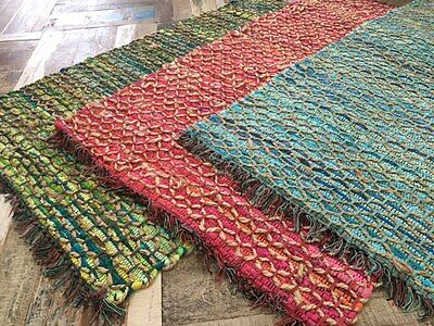 FLAT WEAVE BRAIDED JUTE COTTON ROPE RUG PINK GREEN TURQUOISE 90cm x 150cm