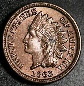 1863-INDIAN-HEAD-CENT-AU-BU-UNC-With-A-TOUCH-OF-MINT-LUSTER