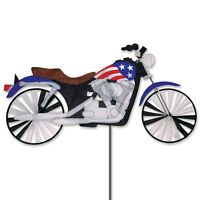 Motorcycle Patriotic Staked Wind Spinner With Pole & Ground Mount Pr 25961