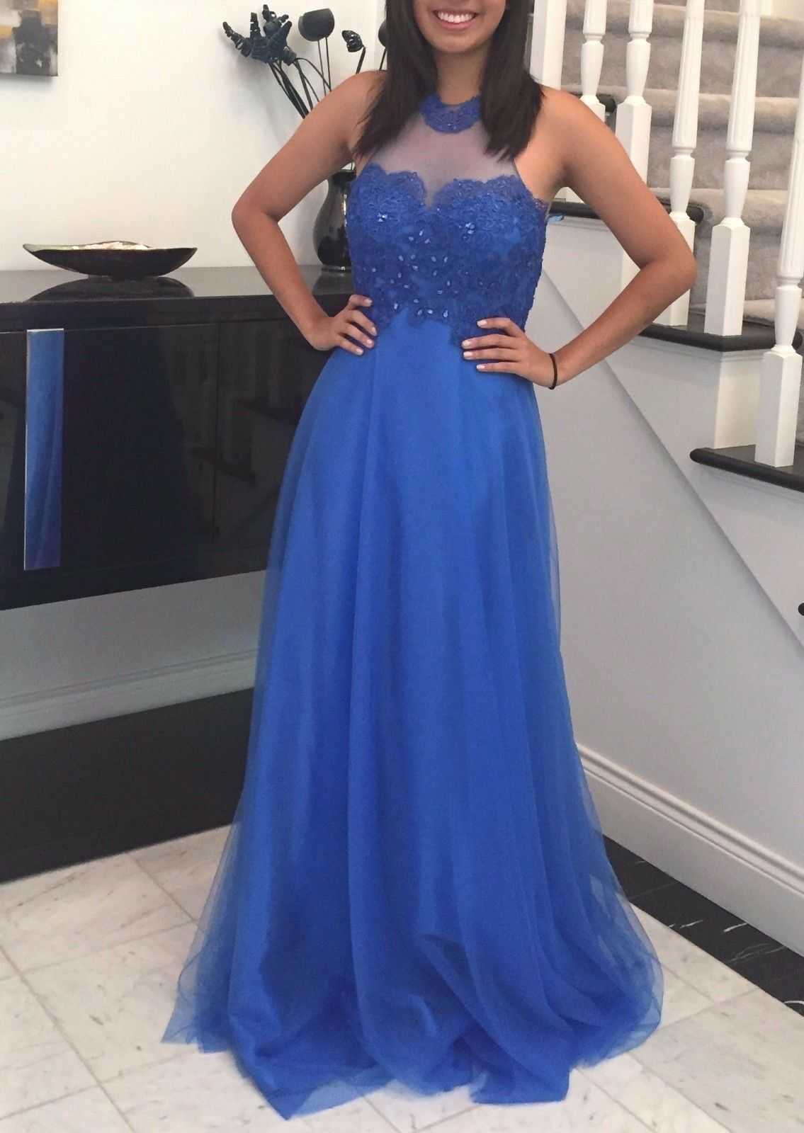 In Stock Größe 6 Brand New Beaded Straps Blau Long  Prom    Homecoming