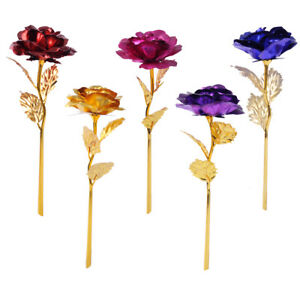 Goldene Gold Rose 24K Gold vergoldet Valentinstag Geburtstag Geschenk 5 Farben