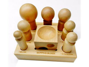 DAPPING-BLOCK-AND-PUNCHES-WOODEN-SET-7-SIZES-WOOD-FORMING-DOMING-JEWELRY-MAKING