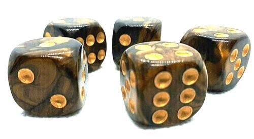 5 RPG Würfel Spiel Kniffel Yahtzee Knobeln W6 16mm DSA dice4friends Gold Spaß