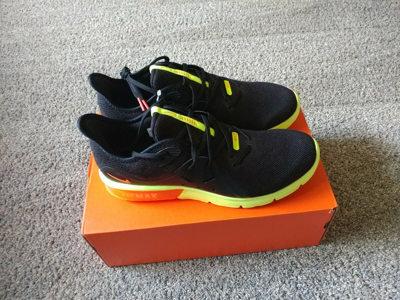 Uomo Nike Air Max Sequent 3 Nero Total Orange - Volt 921694 012 NEW Size 10