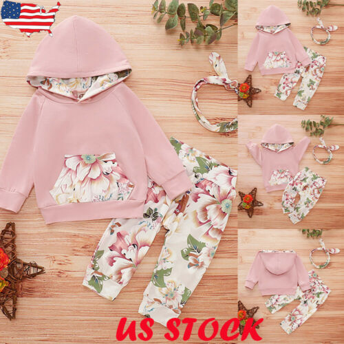 2PCS Newborn Toddler Baby Girls Clothes Floral Hoodies Tops Pants Outfits Set US