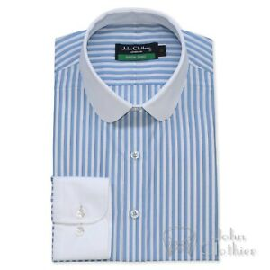 a0e00ad4903 Details about Mens Penny collar Cotton shirt Bankers Sky Blue White stripes  Gents Club Round