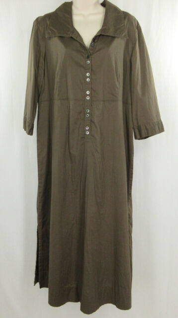 J Jill 16 W Dress Brown 100% Cotton Empire Waist Womens 3/4 Sleeve Button Long
