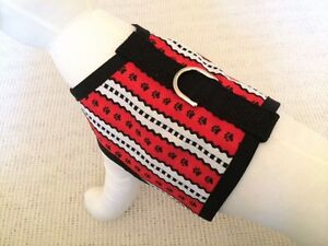 Red-White-And-Black-Dog-Harness-Vest-Clothes-Apparel