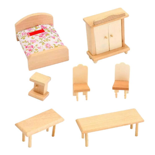 Bedroom Kitchen Set dollhouse furniture 1//12 scale wooden miniatures decor