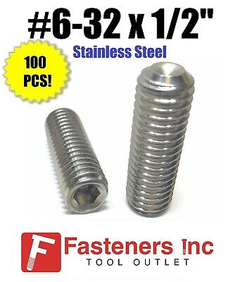 3//8-16 X 1//2 AISI 304 Stainless Steel Full Thread Cup Point Hex Socket Set Screws 40 pcs 18-8