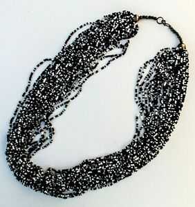 Vintage Multi Strand Black & White Glass Seed Bead Necklace - 29""