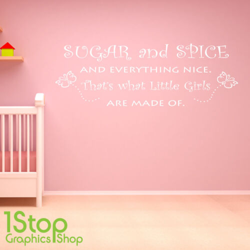 BEDROOM NURSERY HOME WALL ART DECAL X310 SUGAR AND SPICE WALL STICKER QUOTE