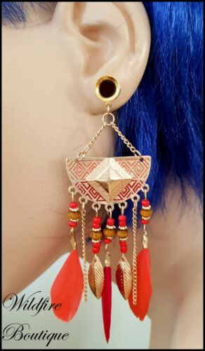Pair 6 Colours Boho Gold Feather Dangle Stainless Steel Ear Tunnels Plugs 6-25mm