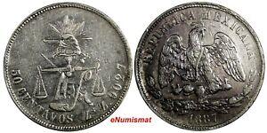 Mexico-SECOND-REPUB-Silver-1887-ZS-Z-50-Centavos-Zacatecas-Mint-63-000-KM-407-8