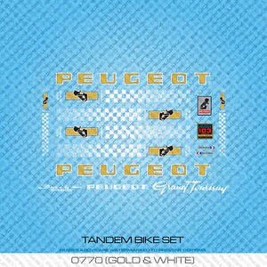 Silver /& Black Stickers Set 771 Peugeot Tandem Bicycle Decals Transfers
