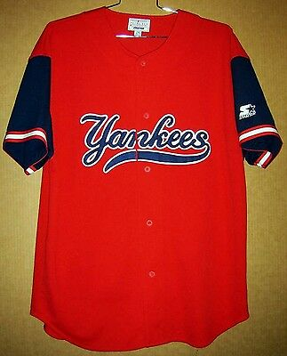 huge selection of 598a3 93dea NEW YORK YANKEES RED BUTTON-DOWN MLB Size XXL Starter JERSEY | eBay