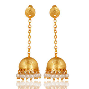 aed4f1033 Image is loading Pearl-18K-Gold-Plated-Brass-Jhumka-Earrings-Fashion-