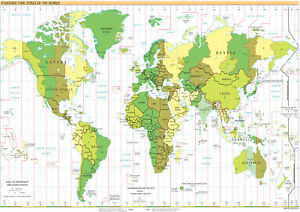 Brand New Poster Print World Map Time Zones Discounted Offers - World map to print a4