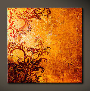 Détails sur Golden Marron Toile Image Braun Tatoo Salon Déco Jaune Orange  Abstrait Culte XL