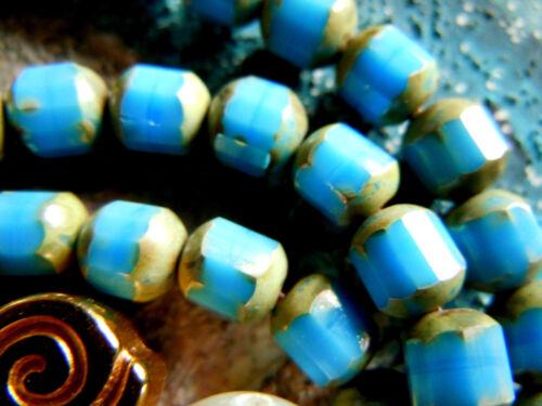 travertin extrémités 6x5mm 25stk. Nouvelle opaques ANTIQUE STYLE TURQUOISE BLEUE Baroque Perles M