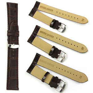 1 Pc Fashion Quality Unisex Genuine Leather Black Brown Watch Strap Belt Band
