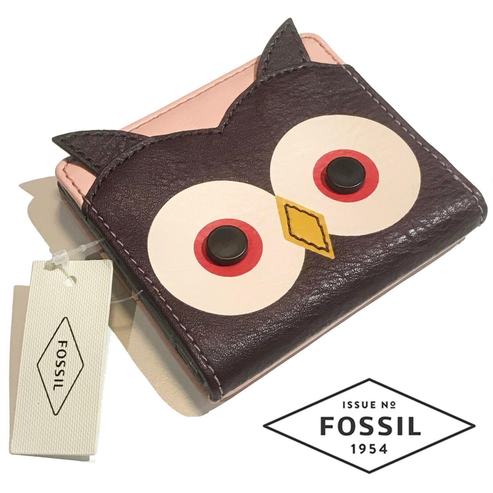 New Fossil Owl Wallet Women's Leather Wallet Tessa Bifold Purple Pink SWL2343564