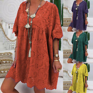Women-Cotton-Long-Shirt-Dress-Crochet-Hollow-Out-Loose-Beach-Mini-Dress-Cover-Up