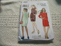 Vogue Misses' J-lo Fitted Lined Dress Sewing Pattern Size 6- 8-10-12-14-