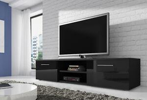 Meuble-TV-Armoire-Bas-Vegas-150-cm-Corps-Noir-Mat-Avant-Noir-Brillant