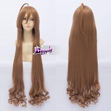 100cm Flaxen Long Wavy Hair for Toradora! Aisaka Taiga Anime Cosplay Wig + Cap