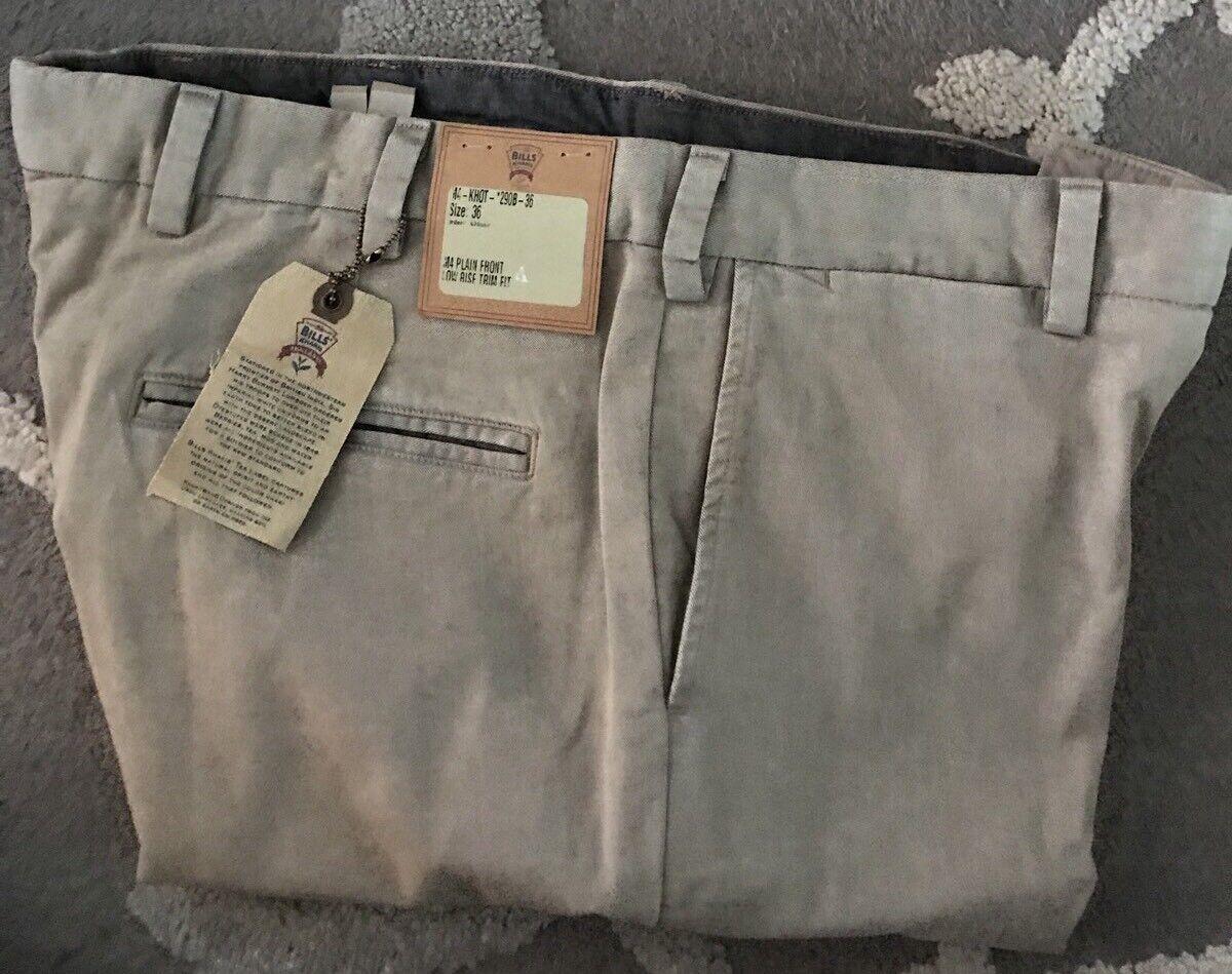 BRAND NEW-Bills khakis M4-KHOT Size 35X32 KHAKI TRIM LOW RISE Khaki