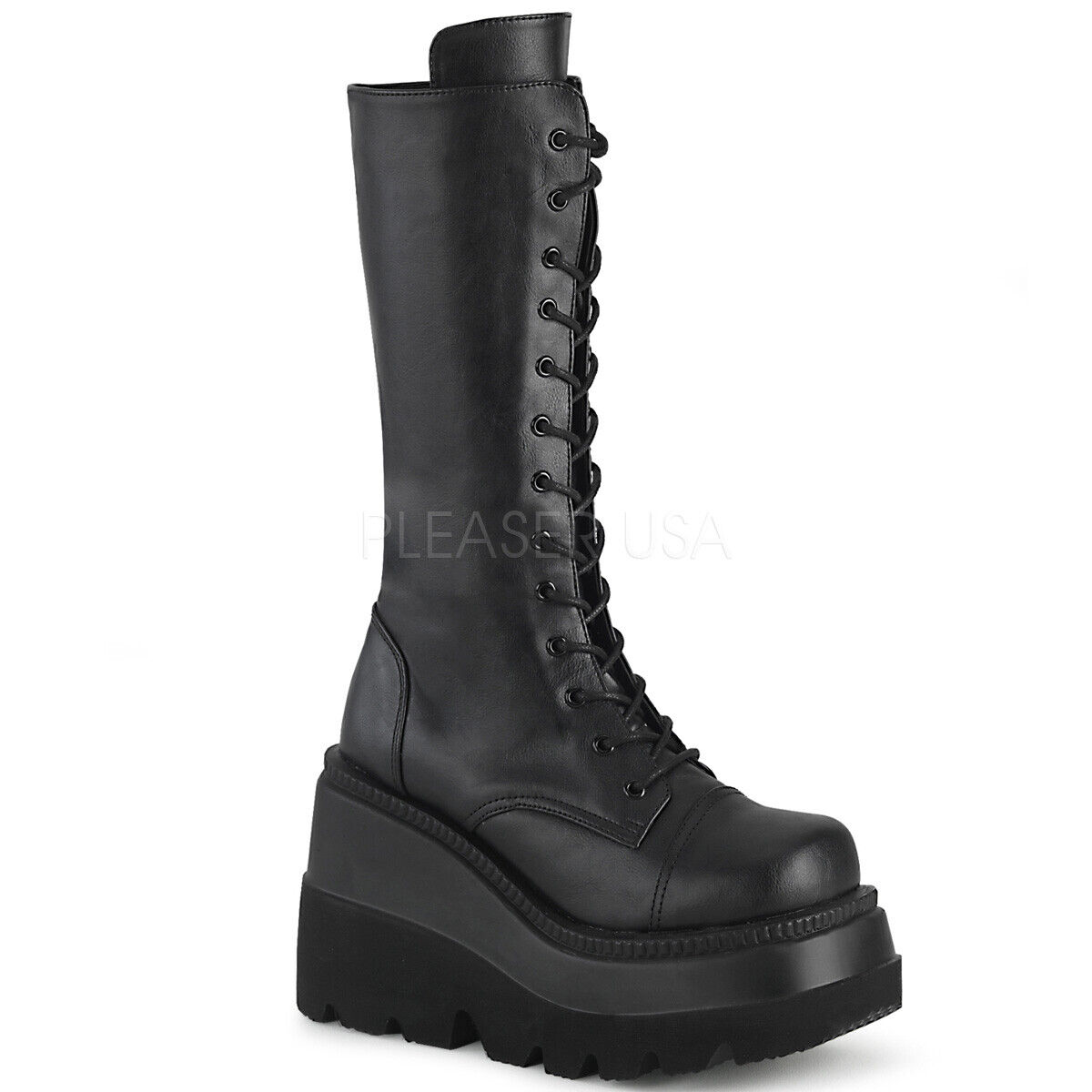 PLEASER Demonia Shaker-72 4 1 2  Wedge Platform Lace-Up Front Mid-Calf Stiefel
