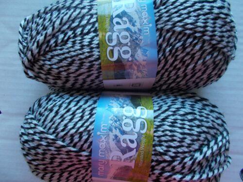216 yds ea lot of 2 Mary Maxim Ragg worsted weight twist yarn Black